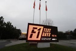 A sign advertising testing at the Circuit de Catalunya