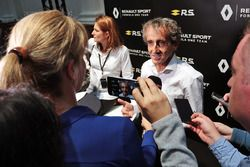 Alain Prost, with the media