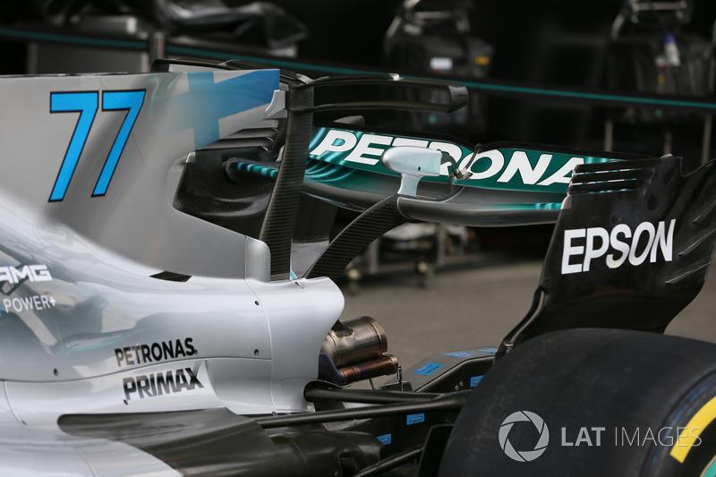 El detalle del alerón trasero de Valtteri Bottas, Mercedes-Benz F1 W08