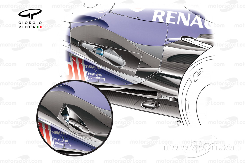 Red Bull RB8 'Coanda' exhaust ramp comparison