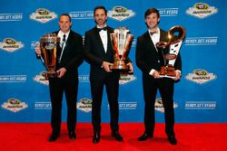Camping World Truck Series Champion Johnny Sauter, NASCAR Sprint Cup Series Champion Jimmie Johnson, and NASCAR XFINITY Series Champion Daniel Suarez