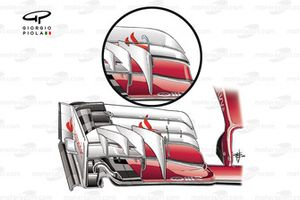 Переднее антикрыло Ferrari SF16-H. Во врезе предыдущая модификация