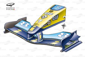Renault R24 front wing (curved endplate, beneath mainplane)