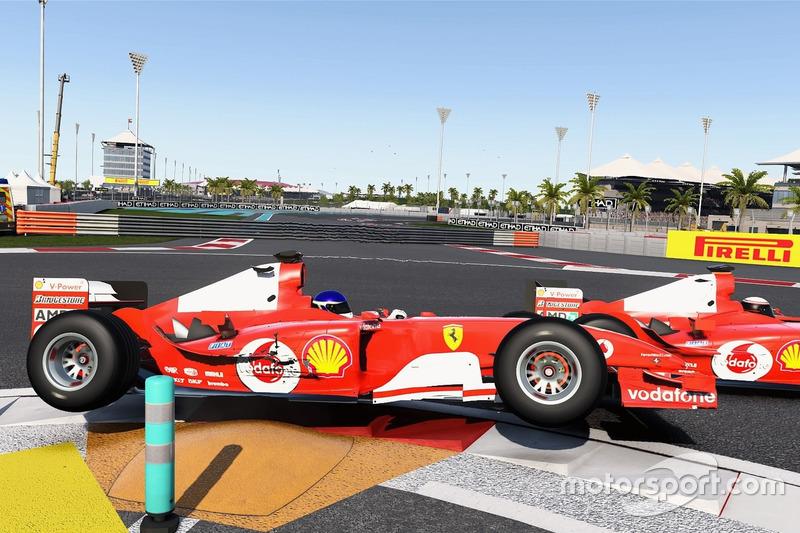 El Ferrari F2004 en Abu Dhabi, con daños