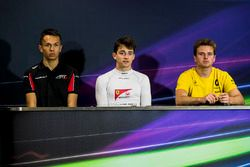 Alexander Albon, ART Grand Prix, Charles Leclerc, PREMA Powerteam and Oliver Rowland, DAMS in the post-qualifying press conference