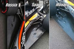 Sahara Force India F1 VJM09 taban detay karşılaştırması