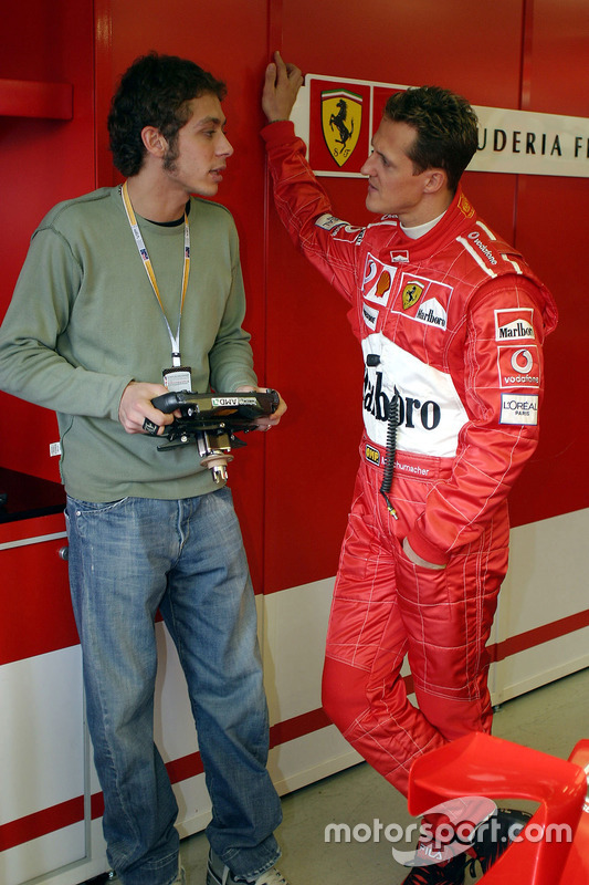 Valentino Rossi with Michael Schumacher, Ferrari