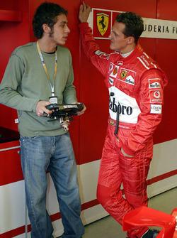 Valentino Rossi avec Michael Schumacher, Ferrari