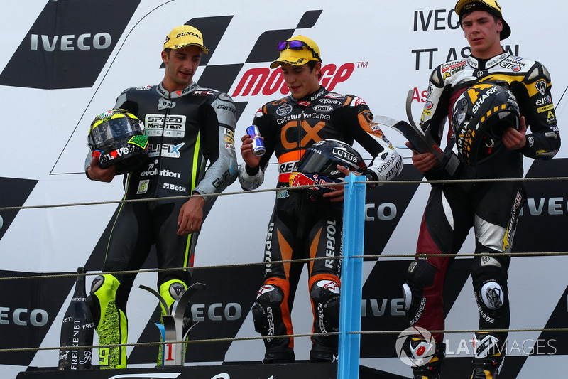 Podium: 1. Marc Marquez, 2. Andrea Iannone, 3. Scott Redding
