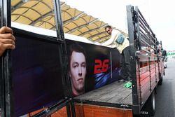 The garage name board of Daniil Kvyat, Scuderia Toro Rosso is removed