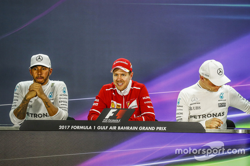 Post-race press conference: race winner Sebastian Vettel, Ferrari, second place Lewis Hamilton, Mercedes AMG F1, third place Valtteri Bottas, Mercedes AMG F1