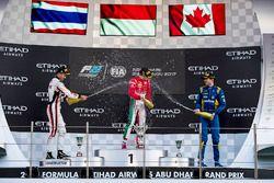 Подиум: победитель Шарль Леклер, PREMA Powerteam, второе место – Александр Элбон, ART Grand Prix, третье место – Николя Латифи, DAMS