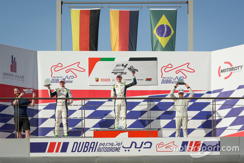 Podium: race winner Leon Köhler, Rasgaira Motorsports, second place David Schumacher, Rasgaira Motorsports, third place Caio Collet, SILBERPFEIL Energy Dubai