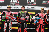 Polesitter Tom Sykes, Kawasaki Racing, second place Eugene Laverty, Milwaukee Aprilia, third place Marco Melandri, Aruba.it Racing-Ducati SBK Team
