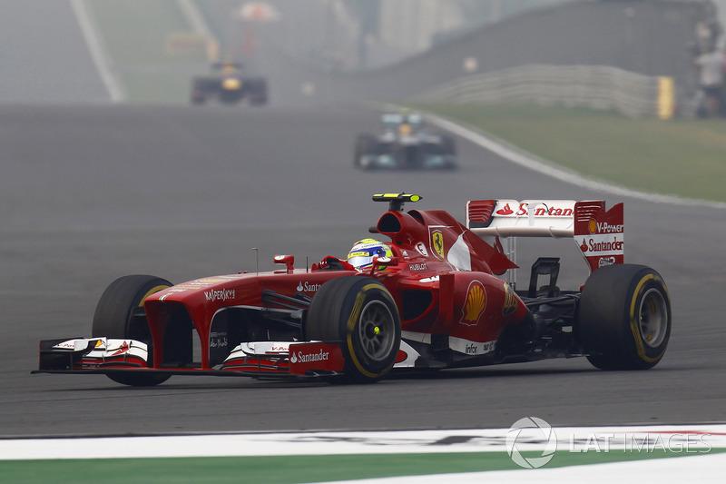 Massa não conseguiu chegar à frente do companheiro de Ferrari Fernando Alonso em uma corrida que ambos tivessem concluído entre os GPs da China de 2011 e da Índia de 2013 (52 provas).