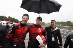 Arie Luyendyk Jr. and Channing Tatum prepare for their pre-race ride in the Honda Fastest seat in Sp