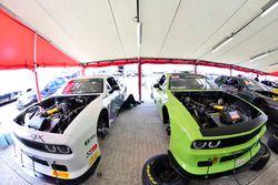 #11 TA2 Dodge Challenger, Peter Klutt of Stevens Miller Racing, #12 TA2 Dodge Challenger, Marc Miller of Stevens Miller Racing