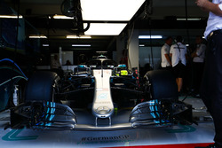The car of Lewis Hamilton, Mercedes AMG F1 W09, in the garage