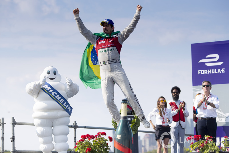 Lucas di Grassi, Audi Sport ABT Schaeffler, celebrates on the podium after winning the race