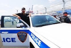 Jean-Eric Vergne, Techeetah, with a New York City police car