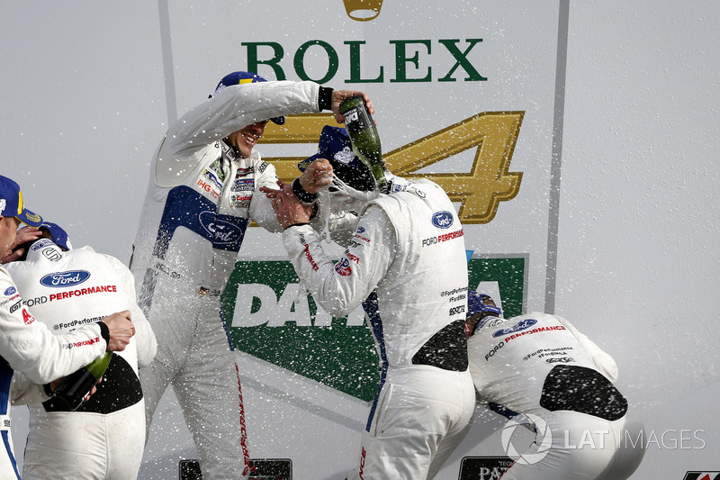 Champagne in GTLM, #67 Ford Performance Chip Ganassi Racing Ford GT: Ryan Briscoe, Richard Westbrook, Scott Dixon