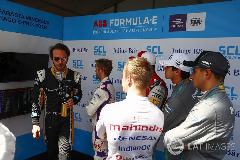 Jean-Eric Vergne, Techeetah, Sam Bird, DS Virgin Racing, Daniel Abt, Audi Sport ABT Schaeffler, Nelson Piquet Jr., Jaguar Racing, Mitch Evans, Jaguar Racing, Felix Rosenqvist, Mahindra Racing