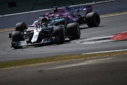 Lewis Hamilton, Mercedes AMG F1 W09, leads Sergio Perez, Force India VJM11