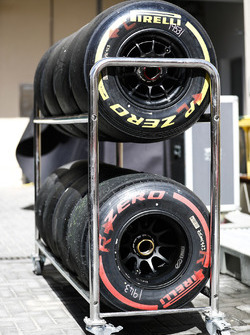 Red, soft, yellow, super soft, Pirelli tyres in a trolley rack