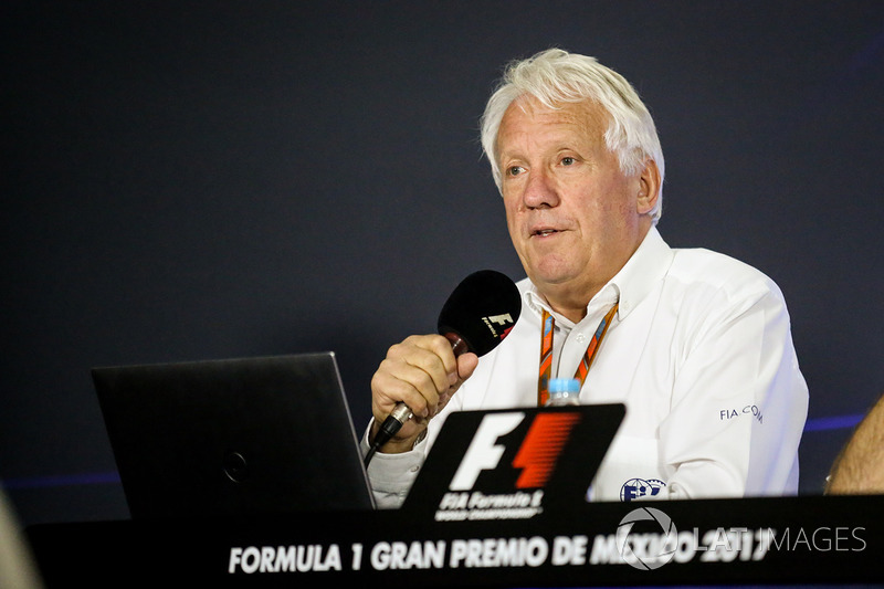 Charlie Whiting, FIA Delegate in the Press Conference discussing the Kimi Raikkonen, Ferrari and Max