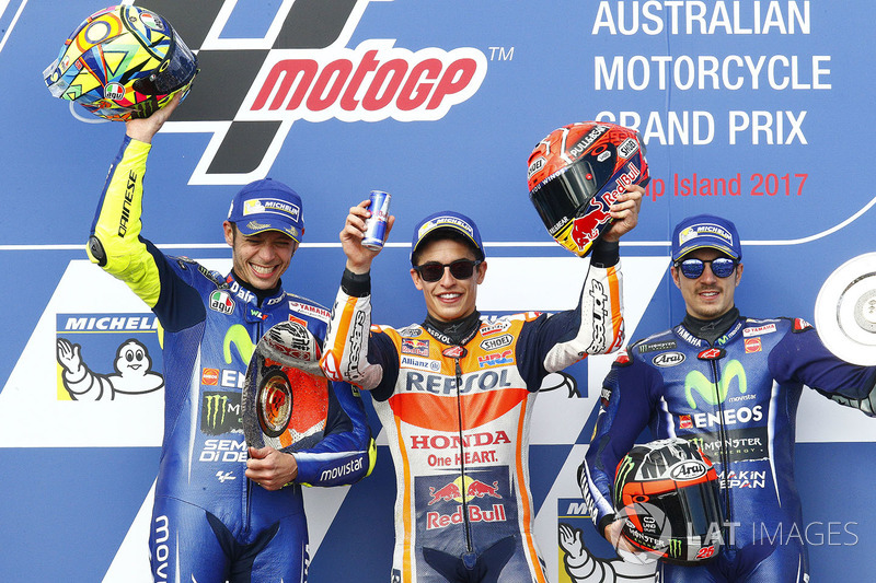 Podium: race winner Marc Marquez, Repsol Honda Team, second place Valentino Rossi, Yamaha Factory Racing, third place Maverick Viñales, Yamaha Factory Racing