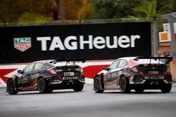 Benjamin Lessennes, Boutsen Ginion Racing Honda Civic Type R TCR. Yann Ehrlacher, ALL-INKL.COM Münnich Motorsport Honda Civic Type R TCR