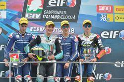 Podio Gara 2: il vincitore Riccardo Rossi, Gresini Racing Junior, il secondo classificato Stefano Nepa, KTM, il terzo classificato Kevin Zannoni, TM Racing Factory 3570 MTA