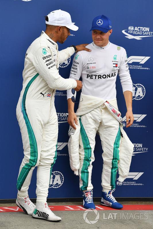 Lewis Hamilton, Mercedes-AMG F1 and Valtteri Bottas, Mercedes-AMG F1 in parc ferme
