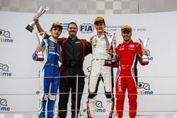 Podium: second place Lando Norris, Carlin, winner George Russell, ART Grand Prix, third place Antonio Fuoco, Charouz Racing System