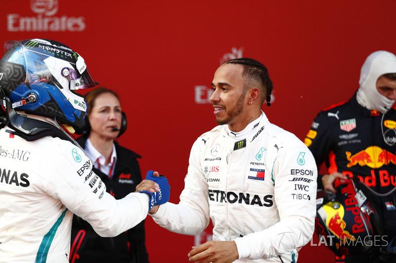 Valtteri Bottas, Mercedes AMG F1, 2nd position, Lewis Hamilton, Mercedes AMG F1, 1st position, congratulate each other in Parc Ferme