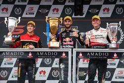 Podium: race winner Shane van Gisbergen, Triple Eight Race Engineering Holden, second place David Reynolds, Erebus Motorsport Holden, third place Garth Tander, Garry Rogers Motorsport Holden