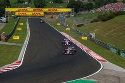 Esteban Ocon, Force India VJM11 leads Sergio Perez, Force India VJM11