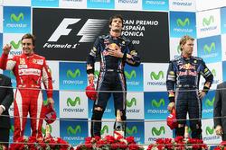 Podium: Mark Webber, Red Bull Racing, race winner; Fernando Alonso, Ferrari, second, third place Sebastian Vettel, Red Bull Racing