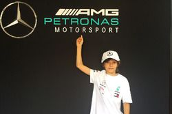 Andrea Kimi Antonelli inside the Mercedes AMG F1 motorhome
