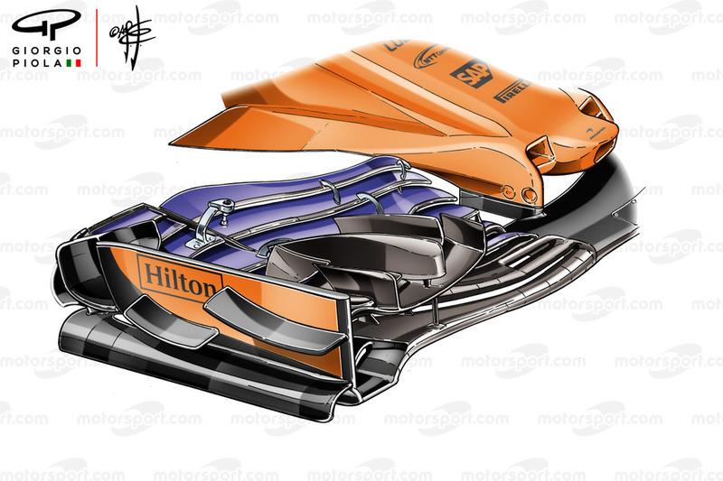 Alerón delantero del McLaren MCL33 en Mónaco
