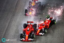Sebastian Vettel, Ferrari SF70H, Max Verstappen, Red Bull Racing RB13, Kimi Raikkonen, Ferrari SF70H, collide at the start