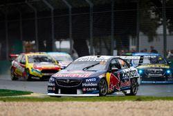 Shane van Gisbergen, Triple Eight Race Engineering Holden, leads Nick Percat, Brad Jones Racing Hold