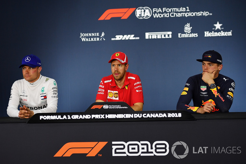 Valtteri Bottas, Mercedes-AMG F1, Sebastian Vettel, Ferrari y Max Verstappen, Red Bull Racing