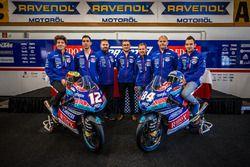 Jakub Kornfeil, PruestlGP, Marco Bezzecchi, PruestlGP, Florian Prustel, PruestlGP Managing Director with team members