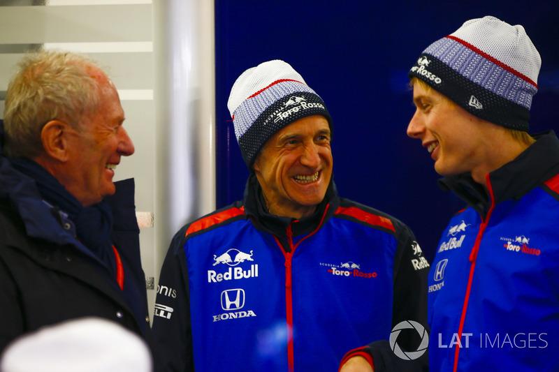 Helmut Marko, Franz Tost, Team Principal, Scuderia Toro Rosso, Brendon Hartley, Scuderia Toro Rosso