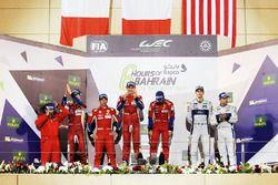 Podium LMGTE Pro: first place Davide Rigon, Sam Bird, AF Corse, second place James Calado, Alessandro Pier Guidi, AF Corse, third place Andy Priaulx, Harry Tincknell, Ford Chip Ganassi Team UK
