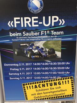 Il Sauber F1 Team al salone Auto Zürich il primo novembre, locandina
