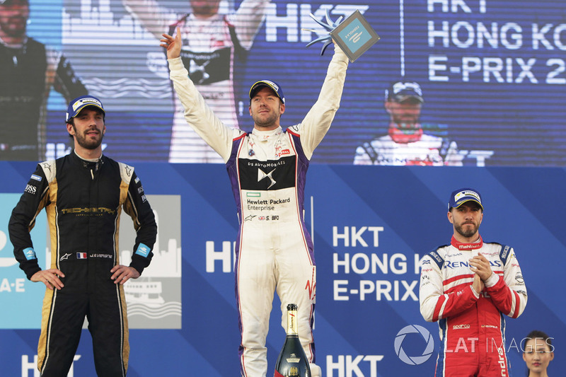 Podio: ganador de la carrera, Sam Bird, DS Virgin Racing, segundo lugar Jean-Eric Vergne, Techeetah, tercer lugar Nick Heidfeld, Mahindra Racing