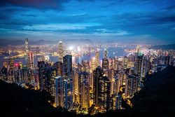 Hong kong overview by night