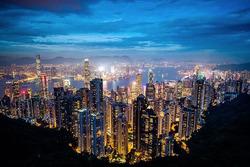 Hong Kong gece görünüm